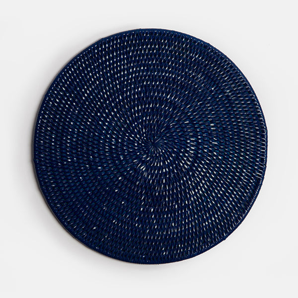 Latha Rattan Table Mat | Dark Blue