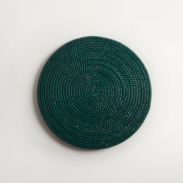 Latha Rattan Table Mat | Dark Green