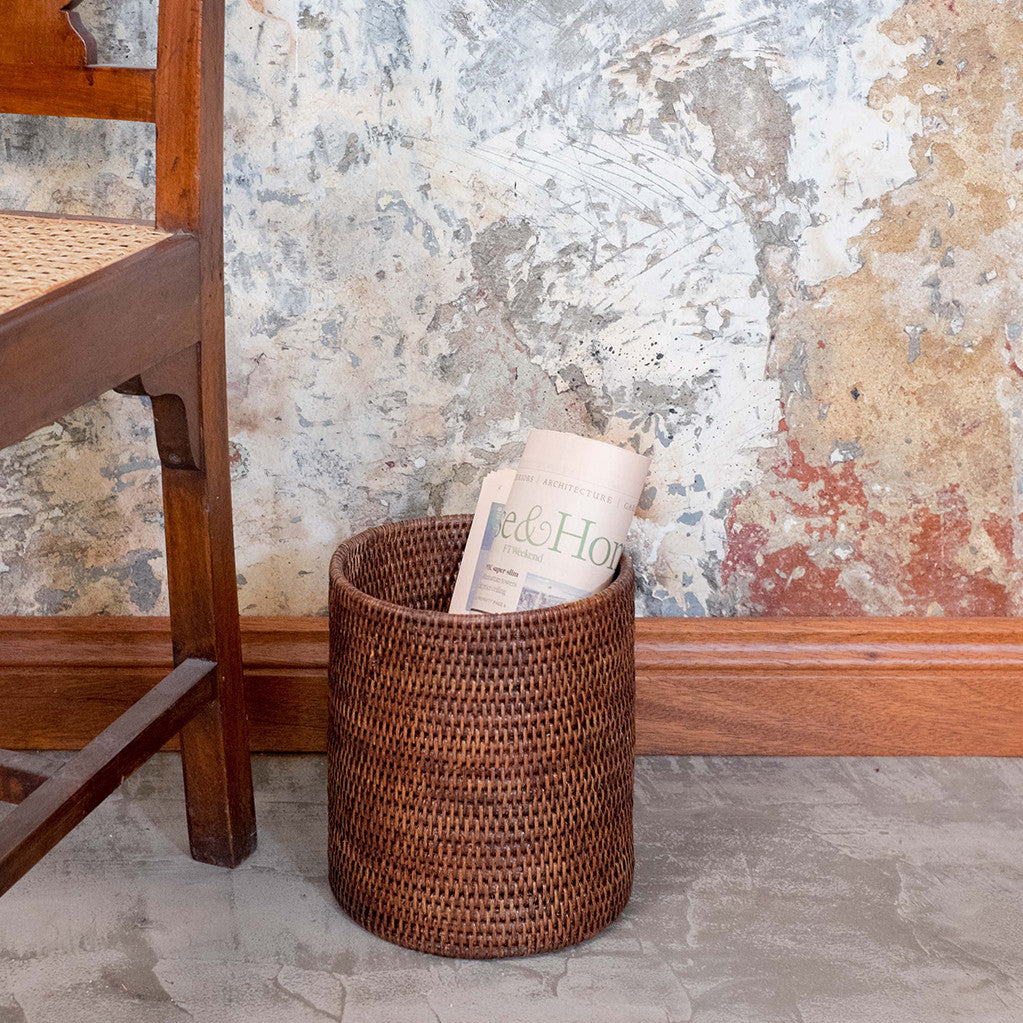 Rangoon Rattan Waste Paper Basket | Brown