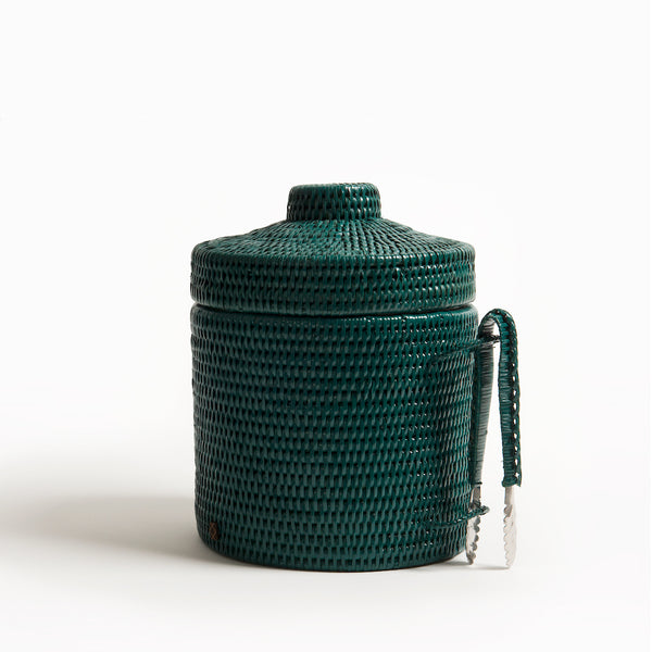 Strand Rattan Ice Bucket | Dark Green