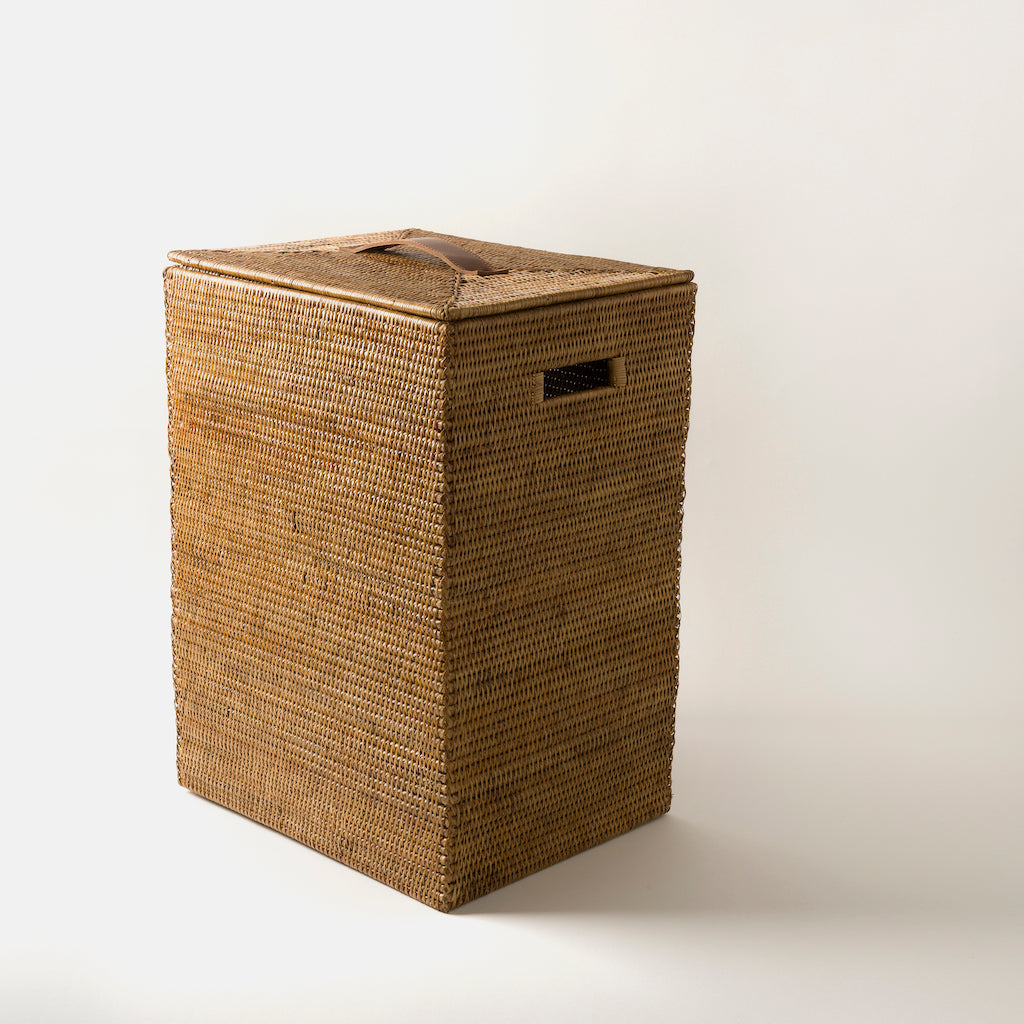 Tinsa Rattan Laundry Bin | Square Natural