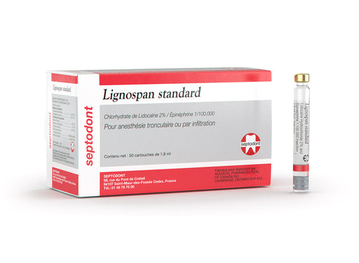 Lignospan Standard (Lidocaine HCl 2% with 1:100,000 epinephrine, injection, red) 99165