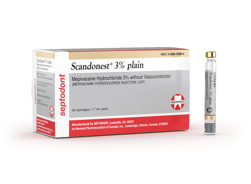 Scandonest 3% plain (Mepivacaine HCl 3% without vasoconstrictor, injection) 99203