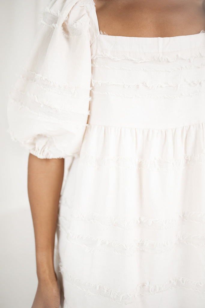 penelope frayed dress // oatmeal