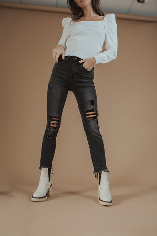 maggie mid-rise straight-leg denim in black // free people