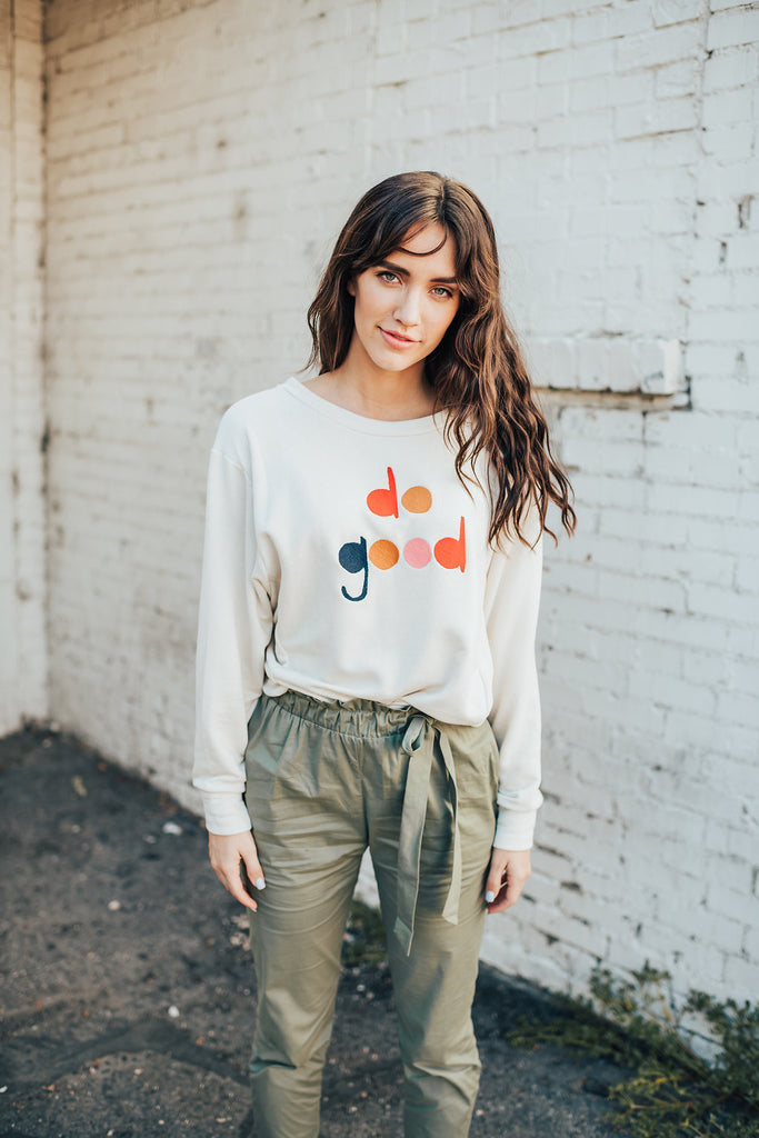 "always ""do good"" embroidered pullover"
