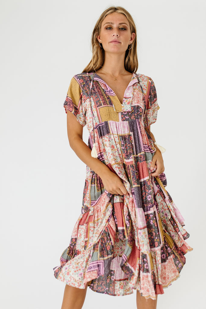in a heartbeat patchwork dress