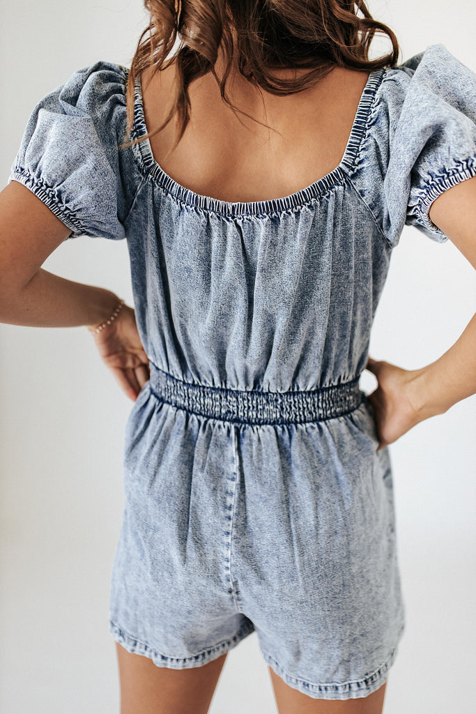vivid memories denim romper