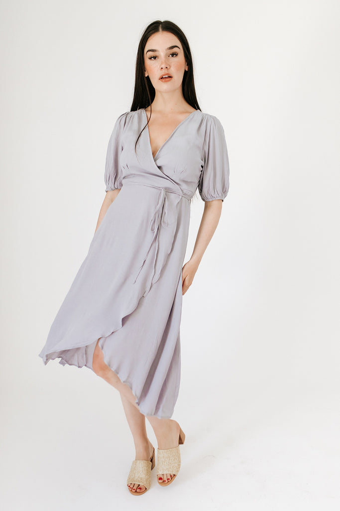 checkmate wrap dress // faded lavender