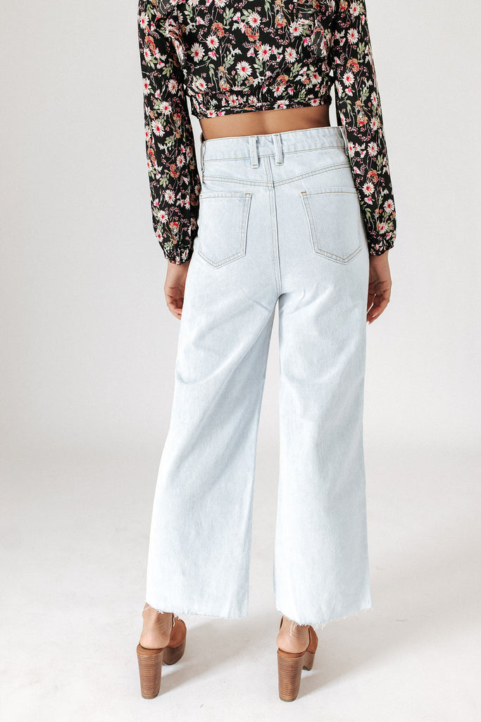 trish wide leg denim // light blue