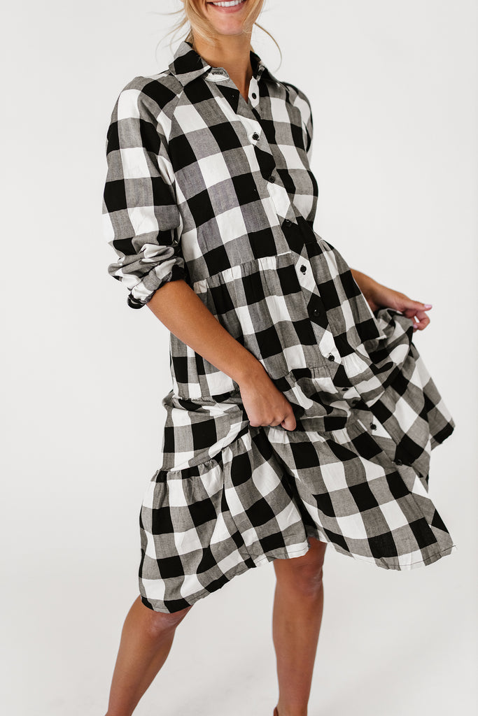 indigo plaid dress