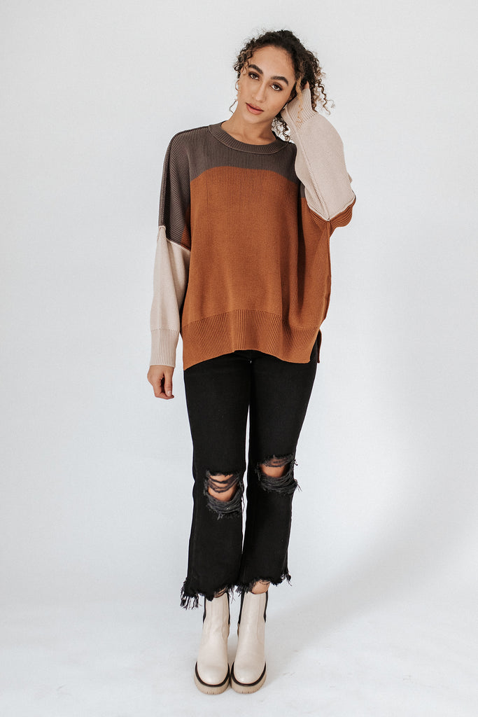 good day color block sweater // rust