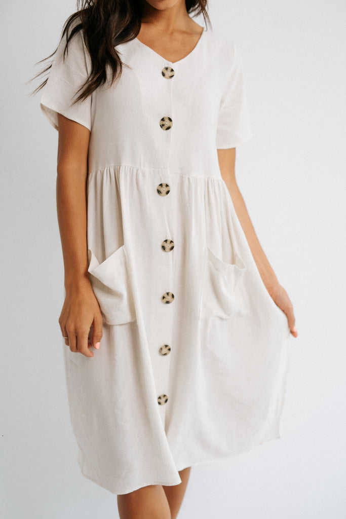 astrid button down dress in oatmeal