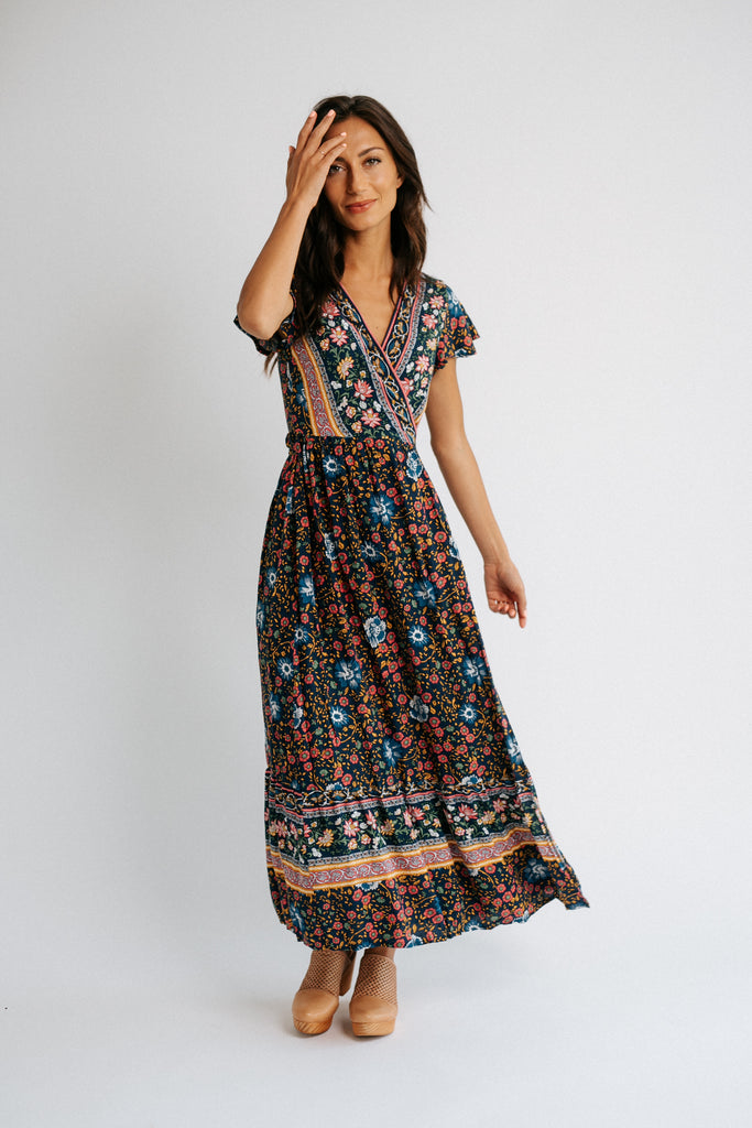 hattie wrap dress in blue