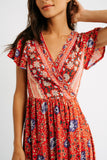hattie wrap dress in red