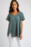 annie striped top // teal