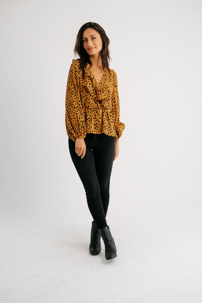 spotted blouse // camel