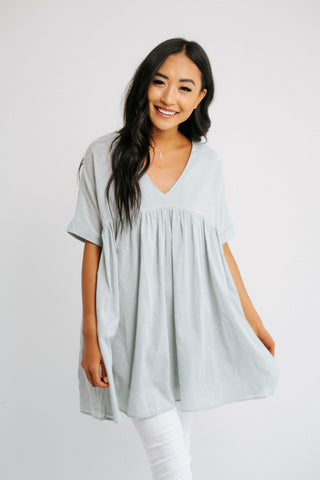 etta washed babydoll top in blue *restocked*