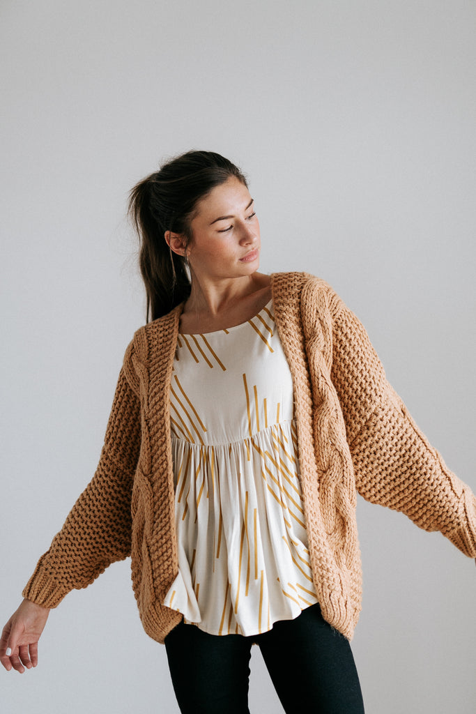 zuri cable knit sweater in amber