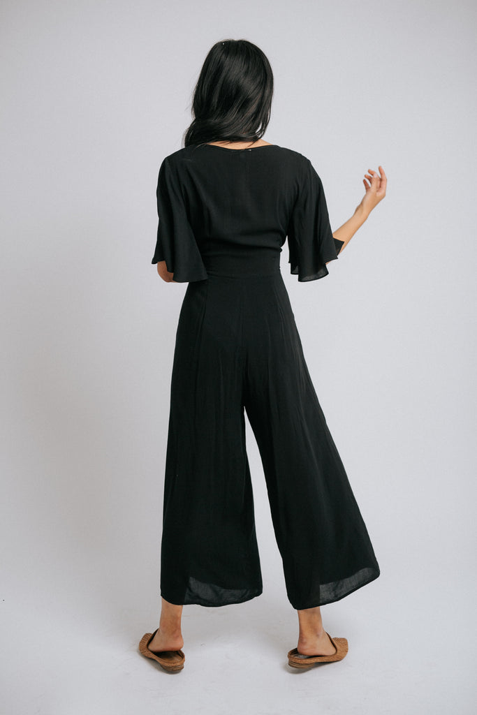 harper tie waist jumpsuit in black