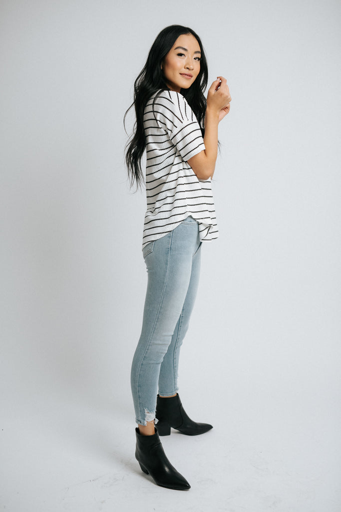 miles striped top in black and white