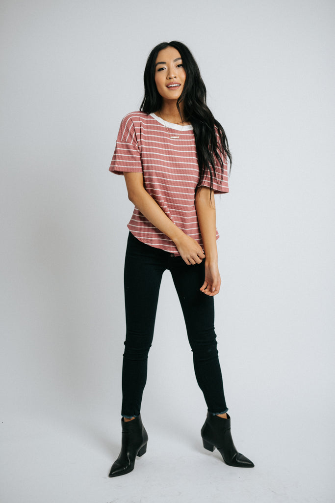 miles striped top in mauve and white