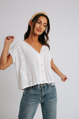 spotted blouse // white