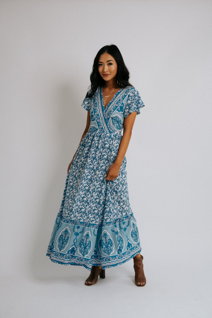 fern wrap dress in blue