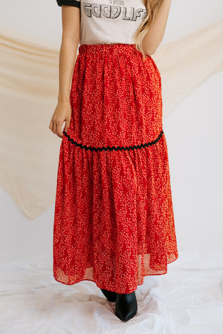 kennedy ribbed skirt in brick