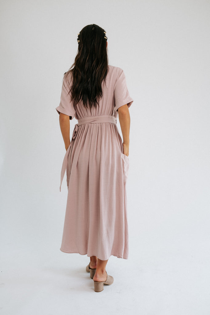 nina wrap dress // mauve
