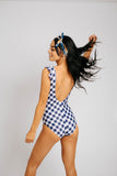 gingham gal swimmer // blue