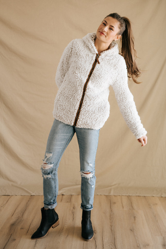 kristen faux fur zip up