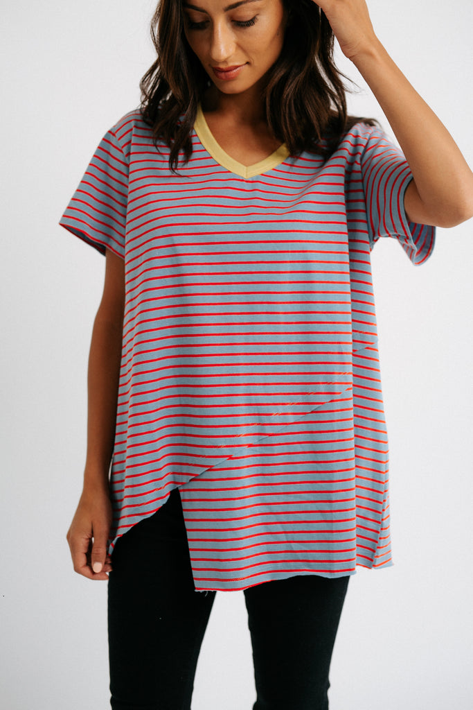 annie striped top // blue