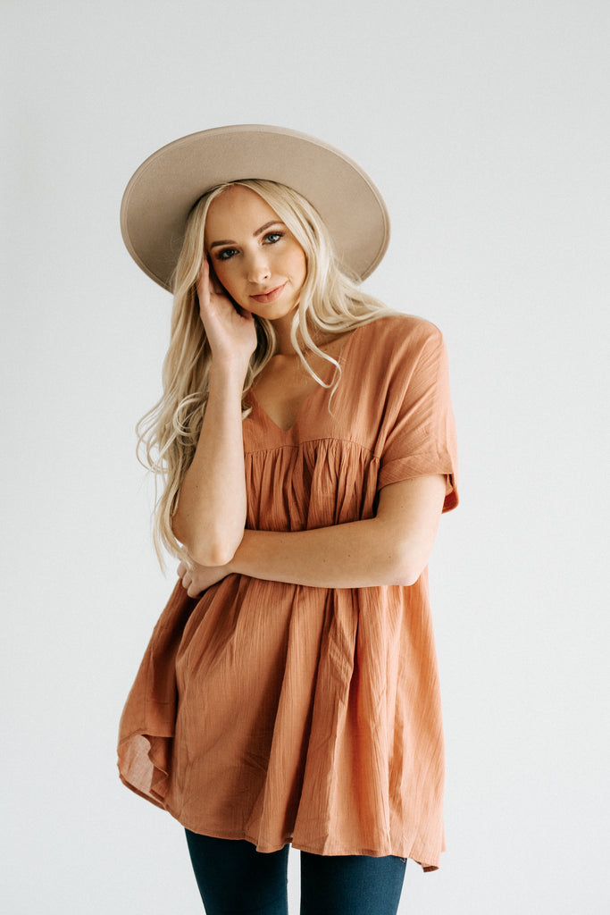 poppy babydoll top in ginger