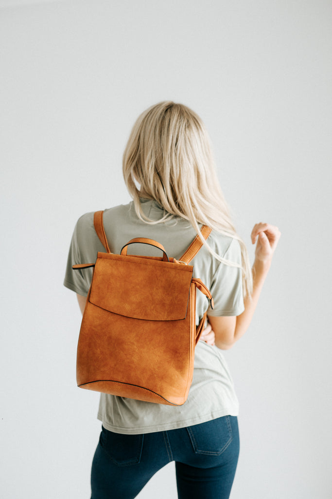 kendall backpack in cognac *restocked*