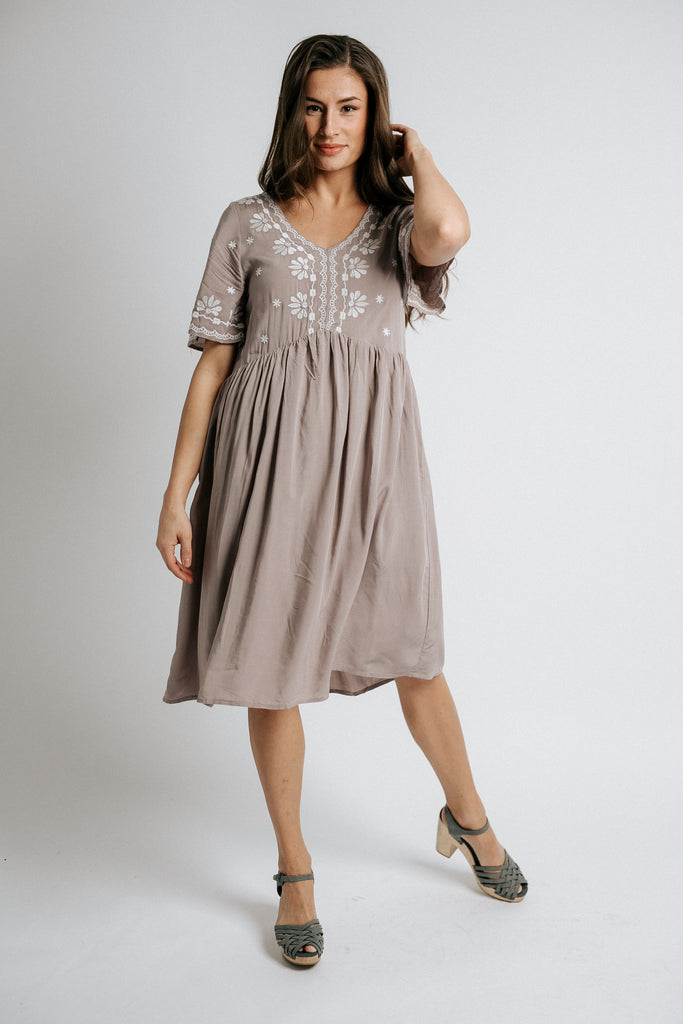 jax embroidered dress in lilac
