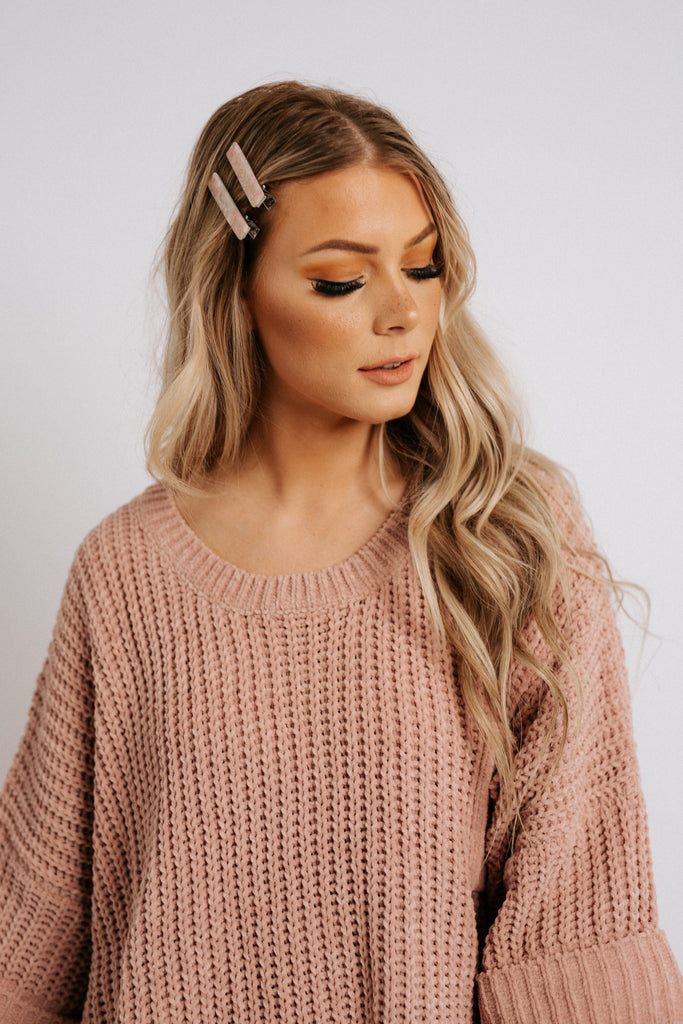just right chenille sweater // rose