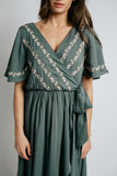 stassi embroidered wrap dress