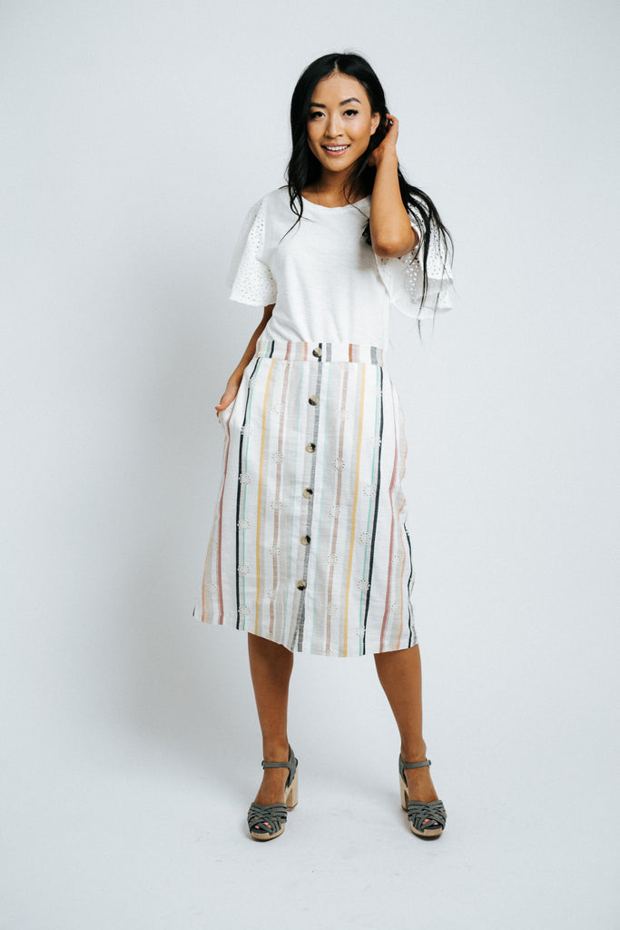 asher embroidered striped skirt