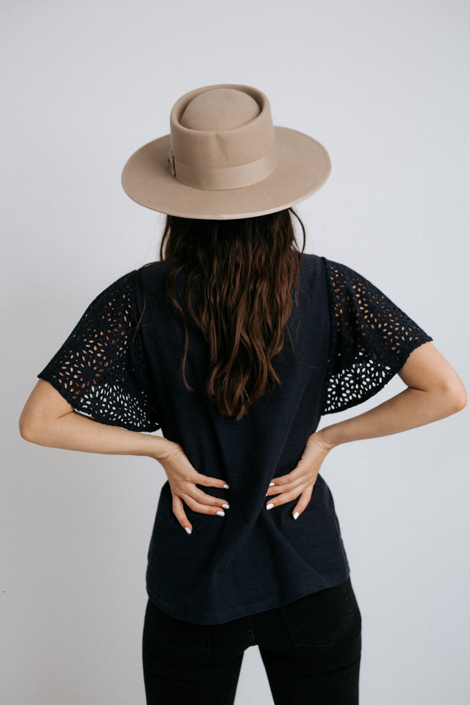 denise eyelet sleeve top in navy