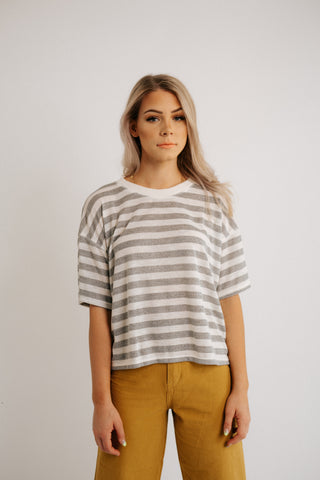 miles striped top in mauve and white *restocked*
