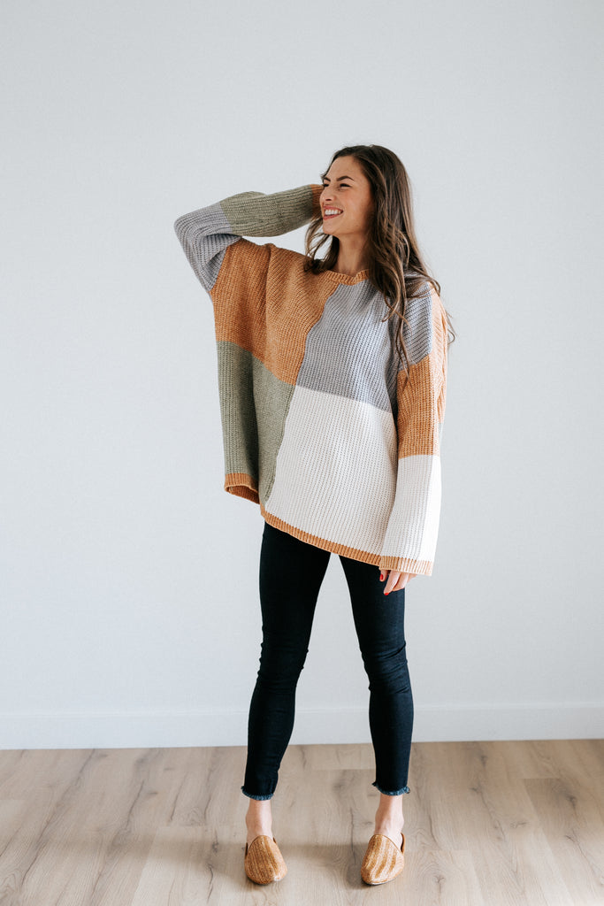 aidy color block sweater in pastel