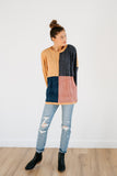 aidy color block sweater in mauve