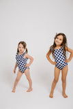 gingham little girl swimmer // blue