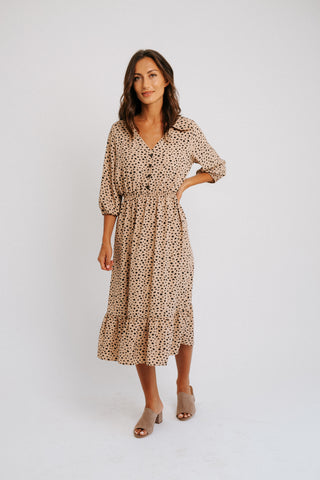 3/4 floral button down dress