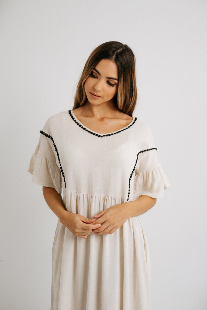contrast trim babydoll dress