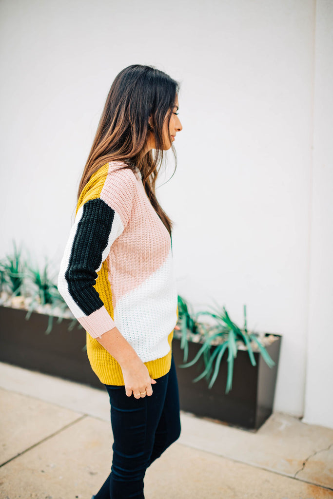 bet color block sweater