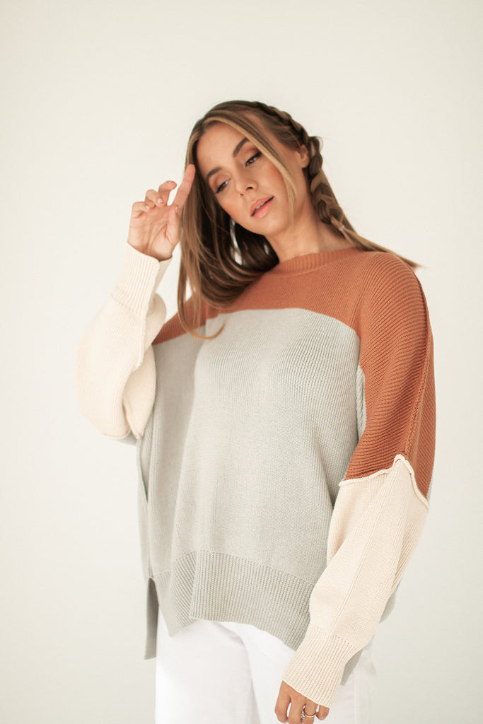 good day color block sweater