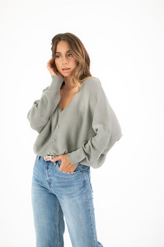 in sync button knit top