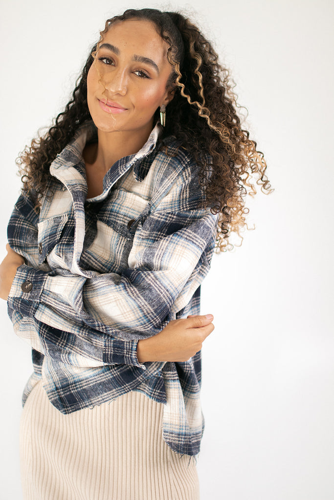 by the way plaid jacket // navy